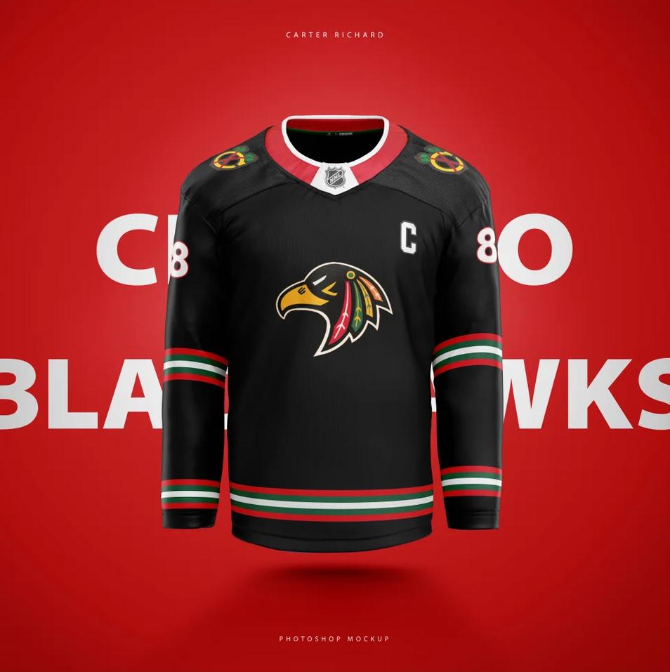 Blackhawks-Jersey-Concept Central Division Jersey Concepts Chicago Blackhawks Colorado Avalanche Dallas Stars Jersey Concepts Minnesota Wild Nashville Predators Winnipeg Jets