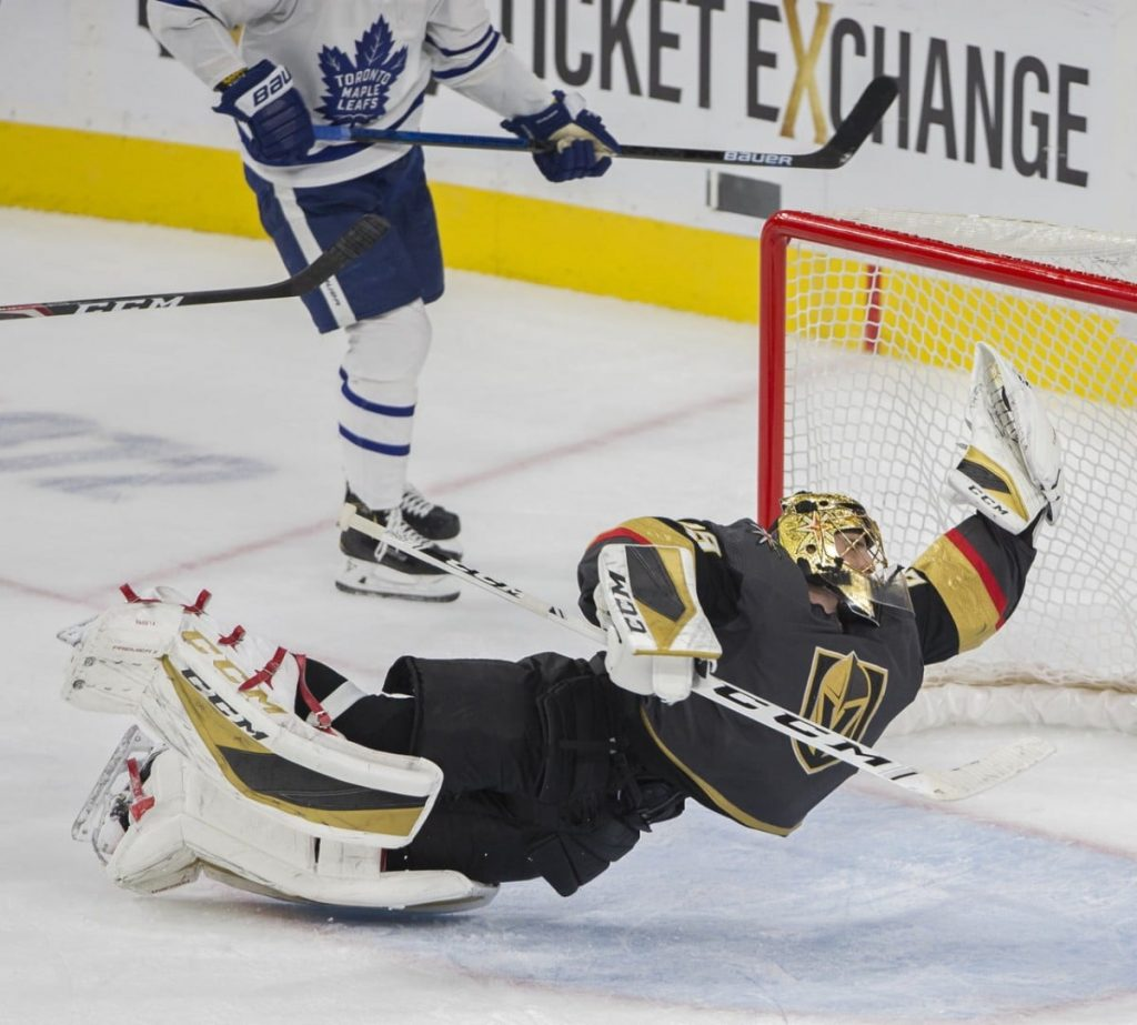 Marc-Andre-Fleury-Knights-Leafs-Save-1024x923 Never Forget: Marc-Andre Fleury's insane save to take down Mike Babcock for the Leafs Marc-Andre Fleury Vegas Golden Knights