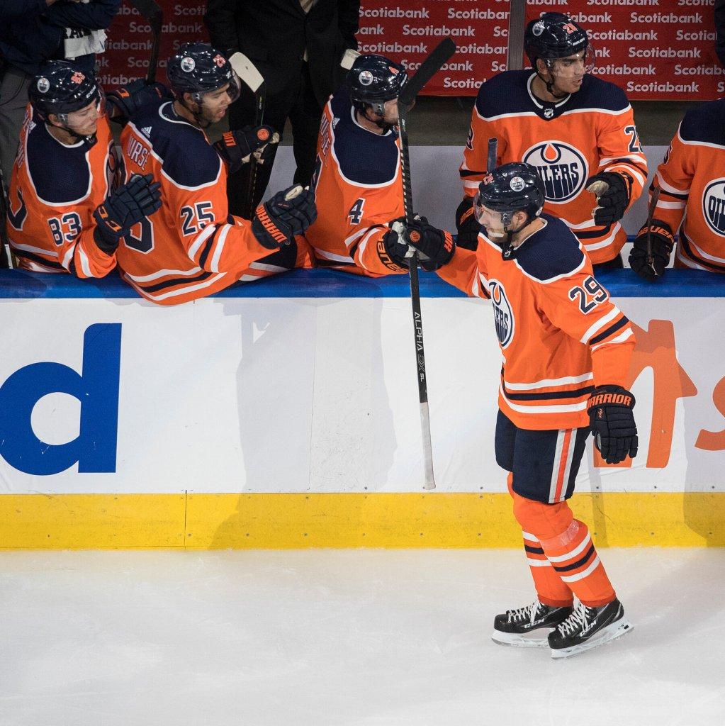 Leon-Draisaitl-Edmonton-Oilers-Celebration-1024x1024 Top 10 plays from 2019-2020: Leon Draisaitl Edmonton Oilers Leon Draisaitl NHL