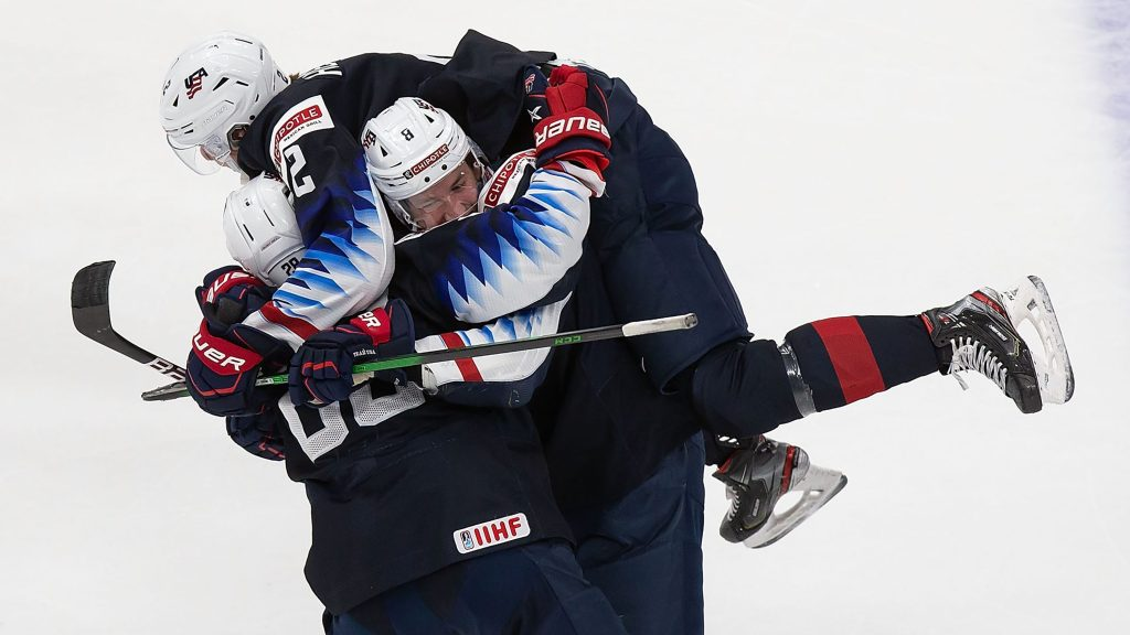 USA-Celebration-Finland-1024x576 2021 World Junior Championships: USA 4 - Finland 3 – 1.3.21 2021 World Junior Championships Team Finland Team USA