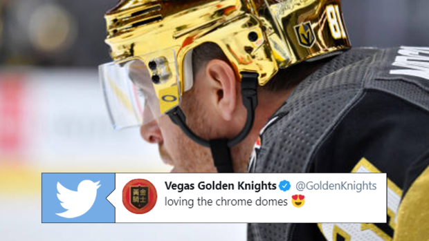 Vegas-Golden-Knights-Gold-Helmets-3 The Vegas GOLDEN Knights dropped some gorgeous gold chrome helmets on us! Vegas Golden Knights